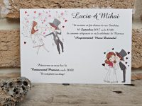 invitatii nunta simple tip felicitare, invitatii ieftine