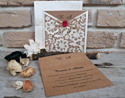 Invitatie nunta carton kraft, decupaj laser