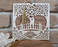 Invitatie nunta carton kraft decupaj laser