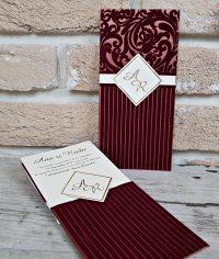 Invitatie nunta visiniu catifea