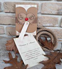invitatie nunta carton kraft