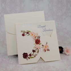 invitatii nunta crem cu flori 2221
