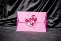 invitatie nunta 5008 clasica moderna cu inimioare cu flori roz
