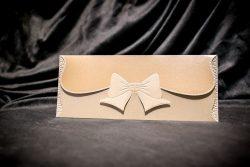 invitatie nunta 5025 clasica cu fundita eleganta