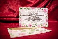 invitatie nunta 4025 clasica moderna ieftina cu flori