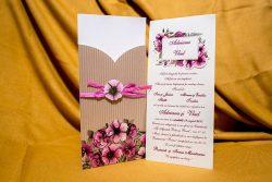 invitatie nunta 4016 eleganta clasica moderna cu fori violet mov