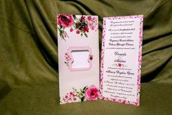 invitatie nunta 4029 clasica cu flori moderna
