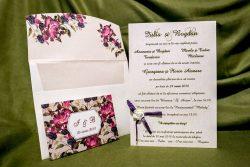 invitatie nunta 4012 eleganta clasica cu flori