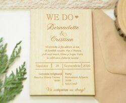invitatie nunta lemn personalizata