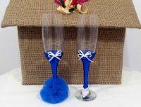 pahare nunta albastre